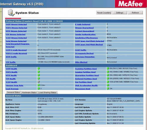 McAfee screen shoot