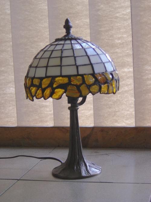 lampa 20 cm z bursztynami