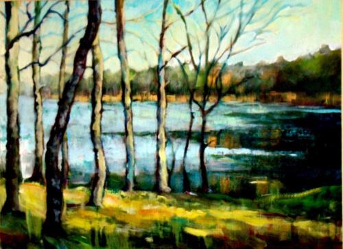 nad jeziorem w Binowie akryl 50-60 #malarstwo #pejzaż #obrazy